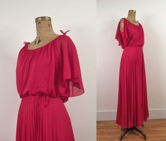 1970s Rasberry Maxi Dress / 70s Grecian Maxi
