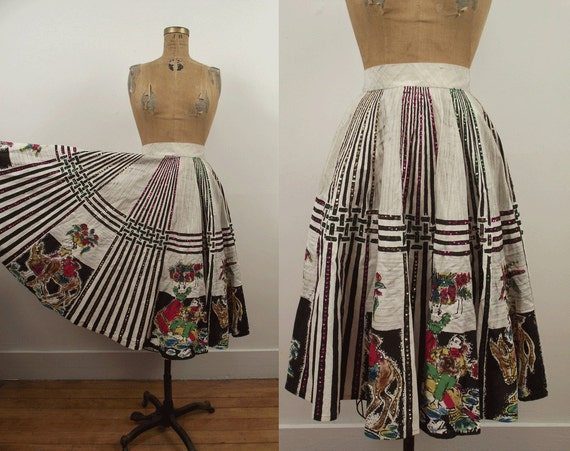 1950s Mexican Circle Skirt / 50s Painted Skirt