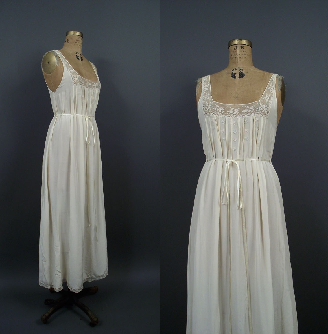1940s Dressing Gown: 1940s Silk Nightgown / 40s Cream Embroidered Night Dress