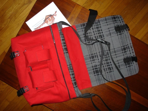 Magic the Gathering or other TCG Deck and Accessory Large Messenger Bag in Bright Red and Grey Contrast Fabric with 2 Specialty Deck Pockets