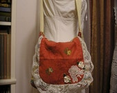 RESERVED Pretty Flower Bag, handmade ruffled lace, cotton screen print, pocket, rusty coral color