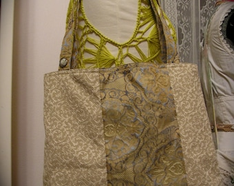 Fabric Tote Bag, beautiful gold renaissance damask silk, pocket, classic design