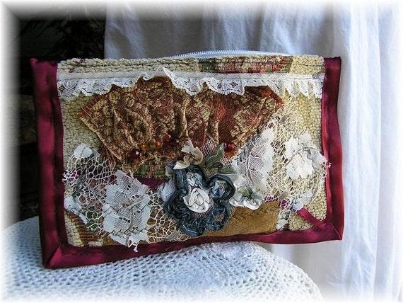 Tattered Frayed Wallet, handmade, embellished, rustic, primitive