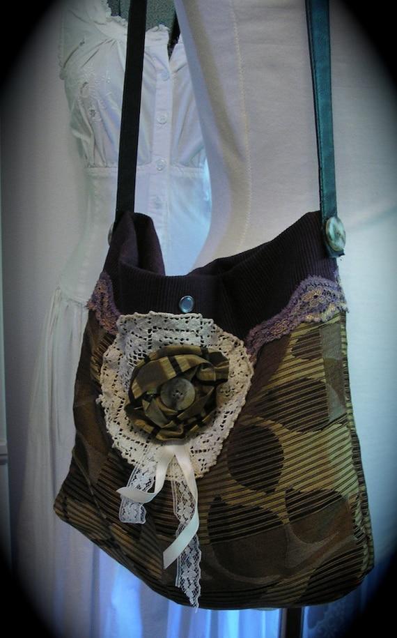 Plum Purple Purse, handmade fabric bag, vintage bobbin lace doily, silk and cotton