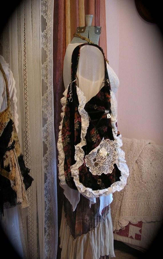 Velvet Hobo Bag, slouchy boho bohemian upcycled vintage black velvet handmade  eco friendly shoulder sling sack ruffled lace LARGE