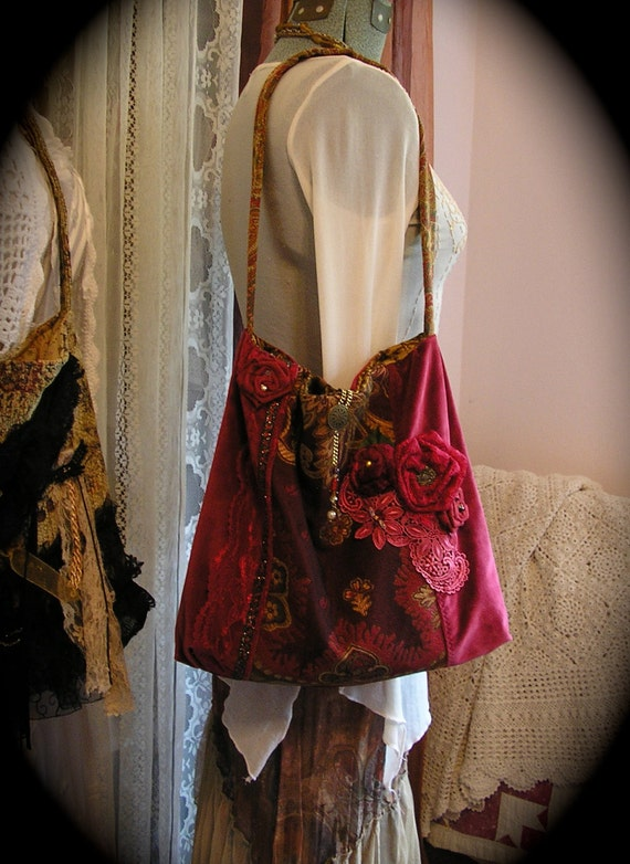 Red Velvet Bag with wallet, thick tapestry velvet fabrics, fabric roses, handmade ooak