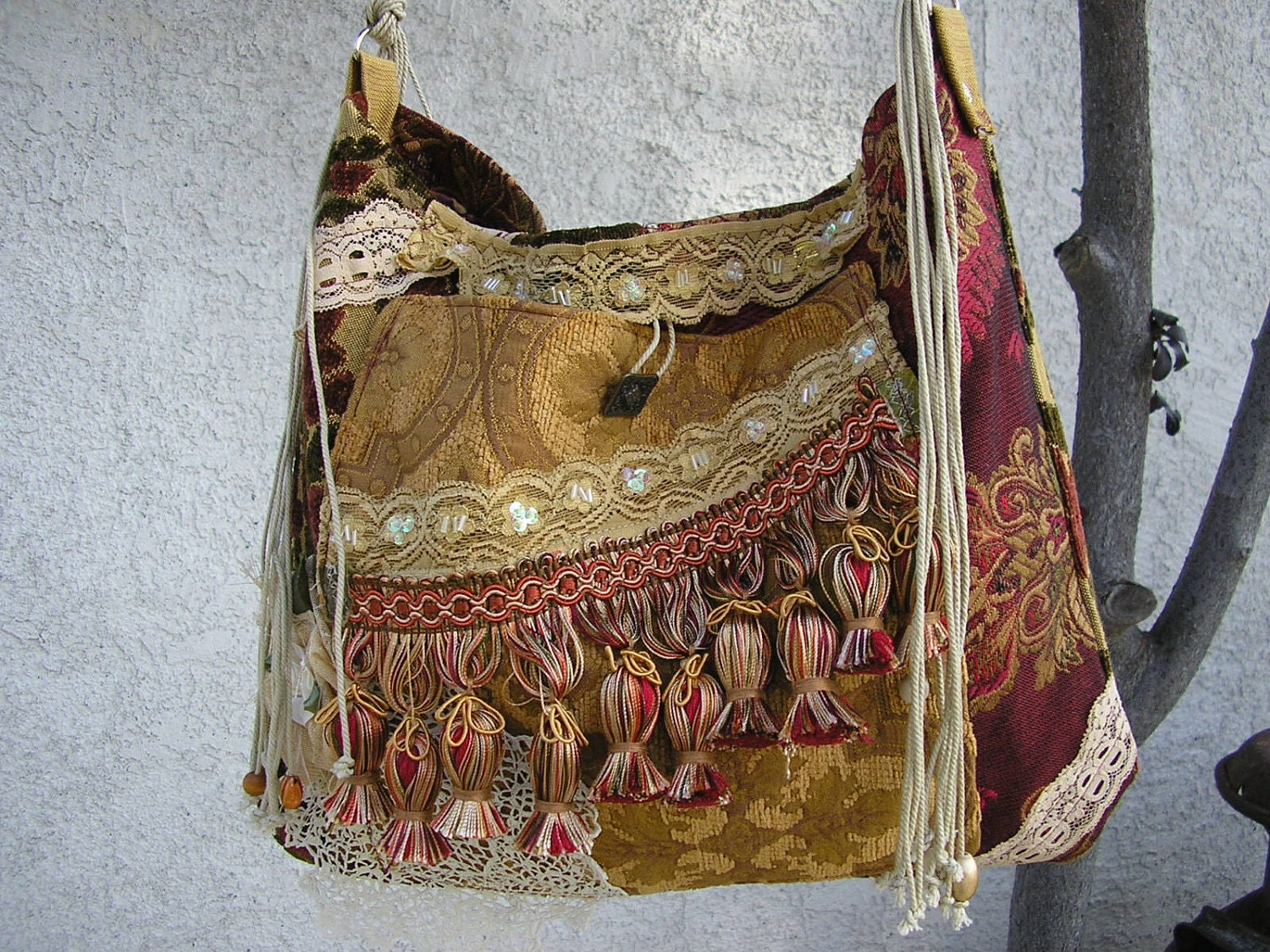 Tapestry Bohemian Bag Gypsy Embellished Fringe