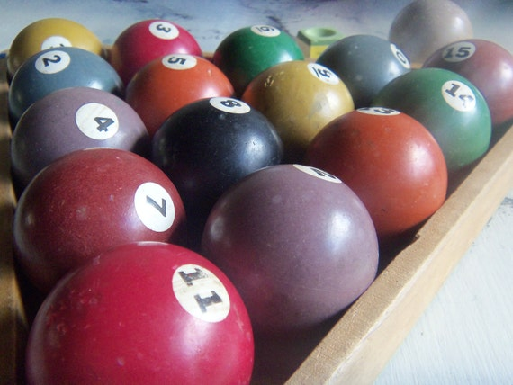 Reserved for Brittany  vintage mini billiards ball and 4 soaps. set all 15 plus cue ball 16 balls total with wood triangle