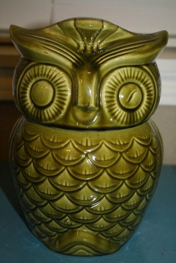 Green Owl Cookie Jar