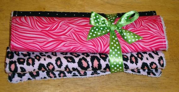 Hot Pink Burp Cloth Set of 3