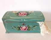 Vintage Wooden Sewing Box, Handpainted, c1940's, Sewing Notions Included