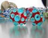 RED AND TURQUOISE LAMPWORK BEADS
