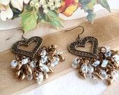 Heart Earrings Brass Magatama Beads Chandelier Hanging Earrings Valentines Day