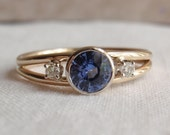 Blue Sapphire 14k Yellow Gold Ring Natural Fancy Lavender
