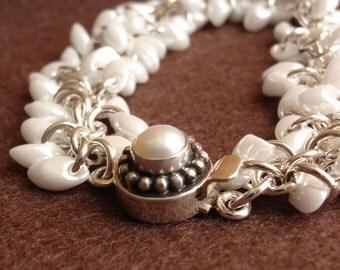White Beaded Bracelet Pearl Magatama Beads Sterling Silver Cha Cha Wedding Artisan Hand Made