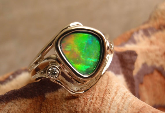 Boulder Opal Ring 14k White Gold Bezel-Set Diamond Mother's Day Birthstone