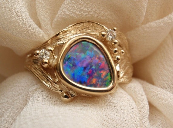 Boulder Opal Ring 14k Yellow Gold  Diamond Accents