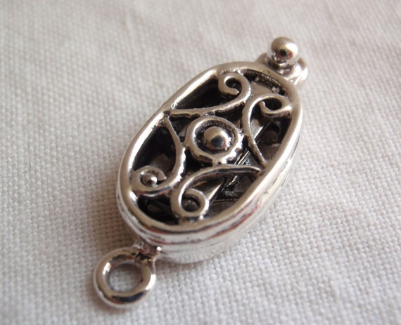 Sterling Silver Box Clasp Oval Ornate