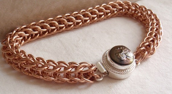 Raw Copper Chain Maille Bracelet Full Persian Sterling Silver Box Clasp Bronze Freshwater Pearl