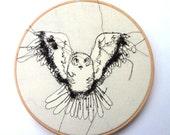 """Embroidery Hoop Art - Owl - 8"""" hoop"""