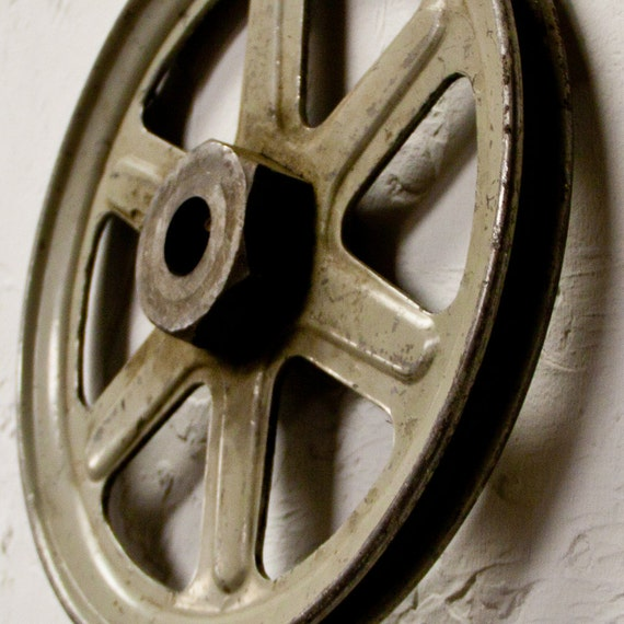 Old Metal Industrial Pulley Mechanical Machine Parts