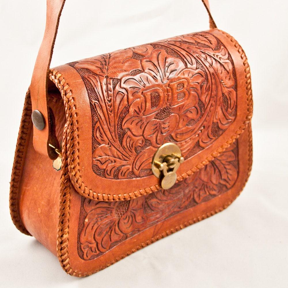 Vintage Purse Bag Hand Tooled Leather Boho Chic