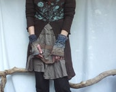 Storm Warmers, hand knitted fingerless cable gloves, brown and blue wool-mix yarn