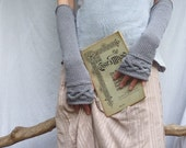 Celtic Princess Gauntlets, hand knitted in eco, organic gray cotton, sleeves, arm warmers