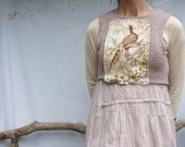 Pheasant Bodice, hand knitted in bamboo tape yarn with pheasant fabric panel, READY TO SHIP