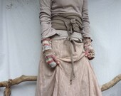 Crofter Warmers, hand knitted natural cable wrist warmers in brown, pink, pale blue and cream