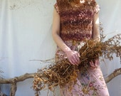 Bracken Bodice, hand knitted in wild yarn, Ready to Ship