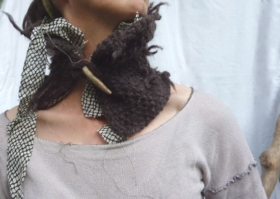 Knotted Bark Neck Cuff, pure Hebridean wool and vintage silk