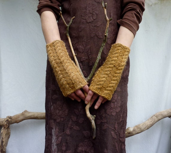 Twig Warmers, hand knitted in golden brown wool mix yarn, cable stitch, READY TO SHIP