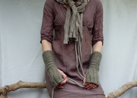 Ammonite Warmers, hand knitted fingerless gloves in ribbed taupe gray wool mix yarn, READY TO SHIP