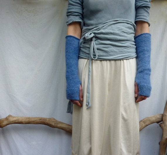 Ocean Gauntlets, hand knitted, extra long fingerless gloves in blue wool mix yarn, READY TO SHIP