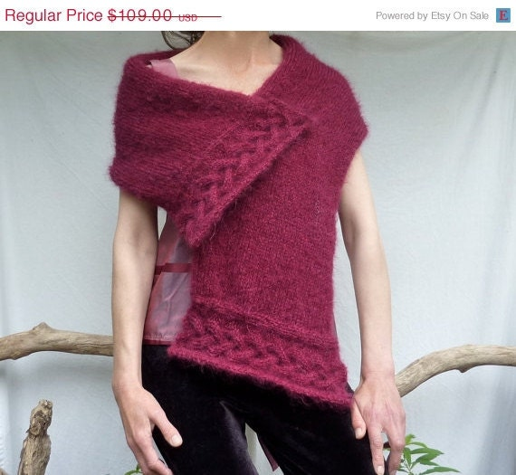 Lightning Strike SALE Celtic Song Scarf, hand knitted in mulled wine colored Scottish mohair