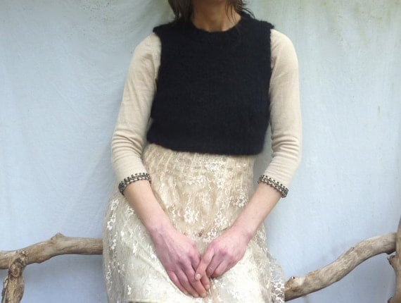 Purist Bodice, hand knitted crop top in black luxury mohair