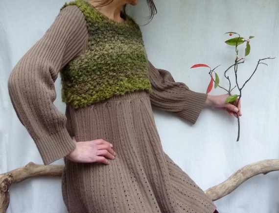 Gooseberry Fool Bodice, hand knitted in wild yarn, READY TO SHIP
