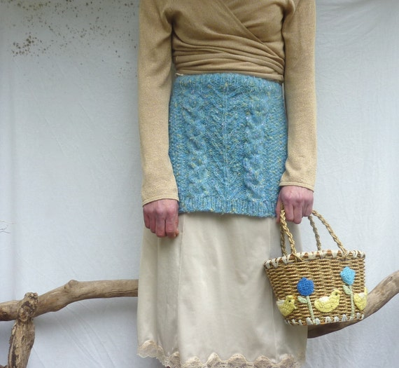 Wilderness Apron, hand knitted in blue mohair-mix fancy yarn, layered look, Ready to Ship