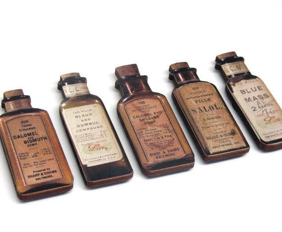Antique Medicine Bottle Magnets - Set B