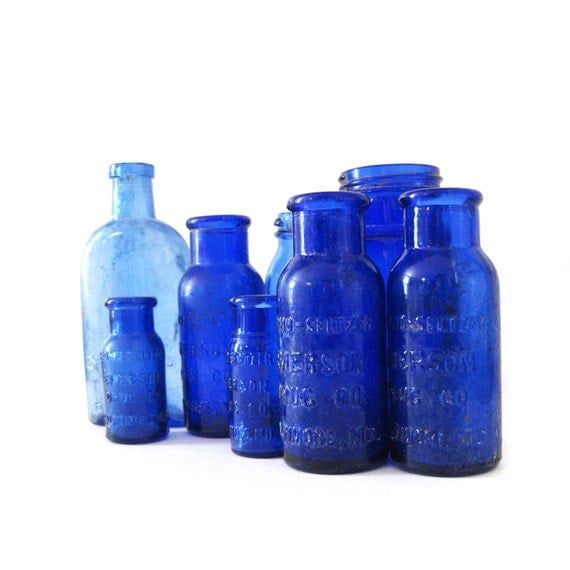 8 antique cobalt blue bottles