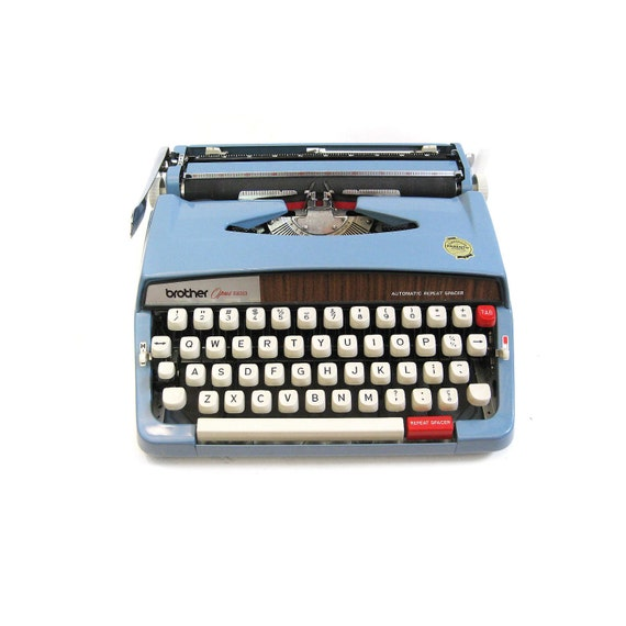 blue french typewriter