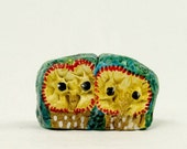 Retro Cuddly Owls  - Hand Sculpted Figurine OOAK