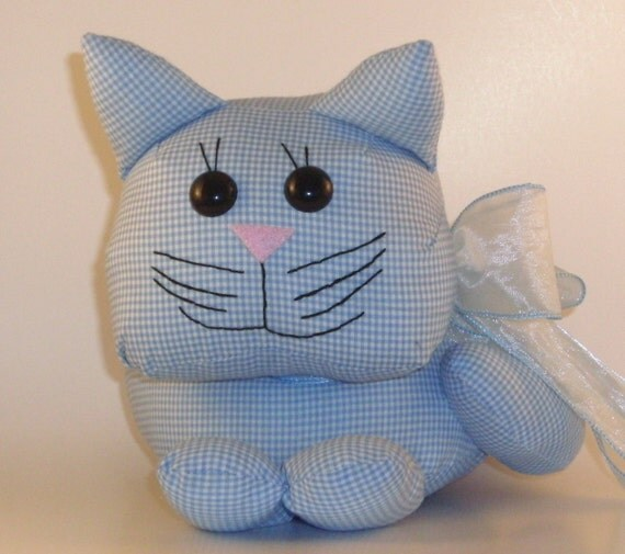 Blue Gingham Cat 100% Charity Donation