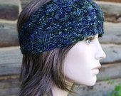 Thick-Headed Cable Headband - Hand Painted Dark Sea - OOAK