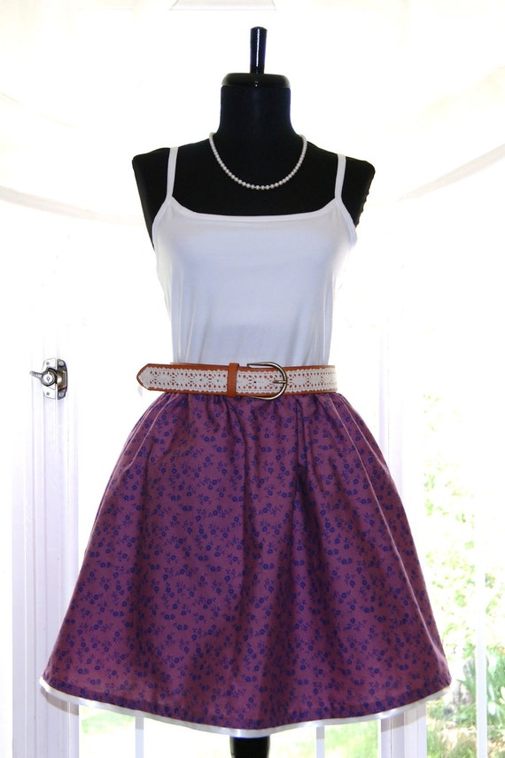 Coffee House Skirt - Violet Floral - (Custom - Any Size)