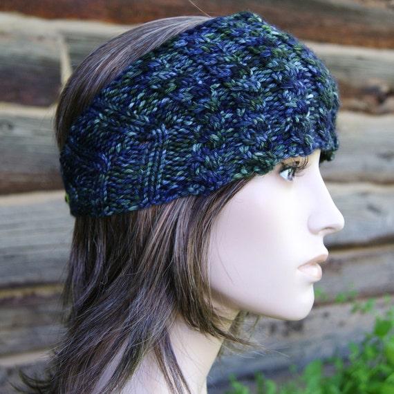 Thick-Headed Cable Headband - Hand Painted Dark Sea - OOAK