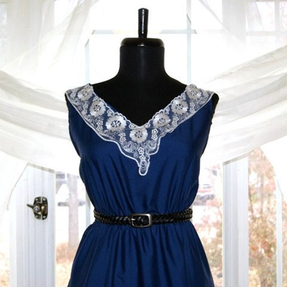 Cocktail Dress - Navy Solid - (Custom - Any Size)