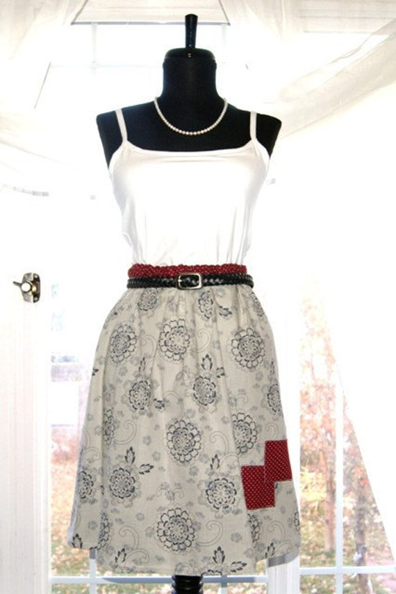 Coffee House Skirt - Grey and Burgundy Vintage Fabrics - L 12/14