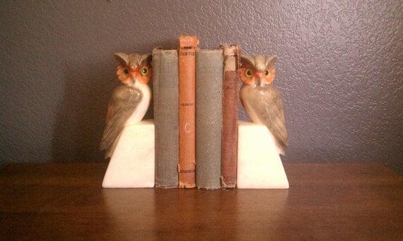 Two Vintage Solid Alabaster Owl Bookends